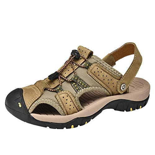 Closeout Special Brown Leather - AopnHQ-Men's Mesh Sandals,Mens Beach Waterproof Closed Toe Water slippers/Sport Hiking Outdoor Summer Shoes