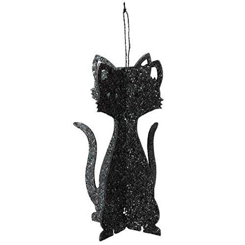 Amscan Family Friendly Halloween 3‑D Cat Hanging Decoration (Pack Of 1), Black, 11 .5