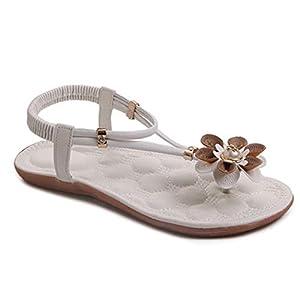 Verano Bohemia Sandalias Planas Mujer Casual Flor Playa Chanclas Punta Abierta Slip On Pumps Correa de Tobillo Zapatos… | DeHippies.com