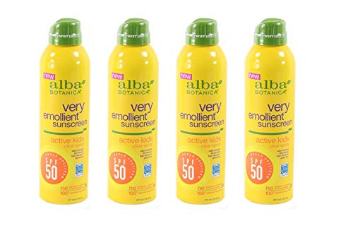 Alba Botanica Lot of 4 alba botanica very emollient, kids spray sunscreen spf 50, 6 ounce
