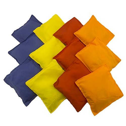Adorox Set of 12 Assorted 5'' Nylon Bean Bags Cornhole Primary Colors Carnival Game by Adorox