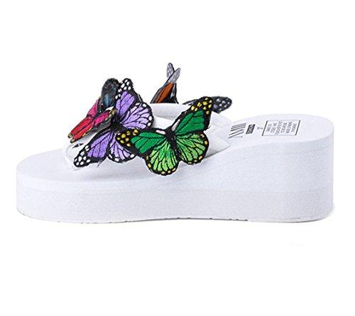 U-MAC Womens Flip Flops Platform Wedge Sandals Bohemian Butterfly Anti-Slip Summer Thongs Slippers White