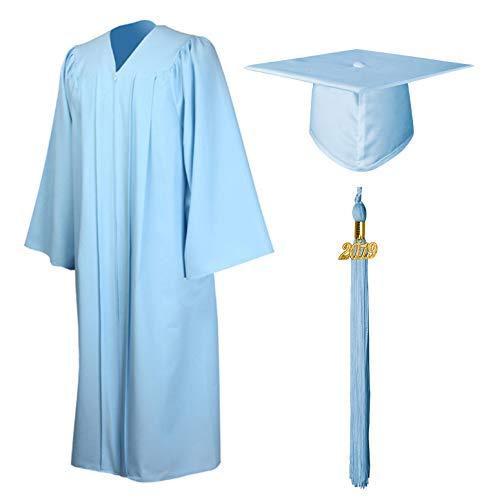 GraduationMall Matte Graduation Gown Cap Tassel Set 2019 for High School and Bachelor Sky Blue 48(5