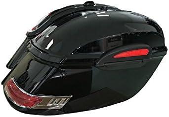 Alforjas rigidas para moto custom de 50 litros de capacidad. Color en negro brillo. Viene con todo lo necesario para su instalación.