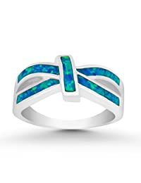 Sterling Silver Created Blue Opal Design Ring