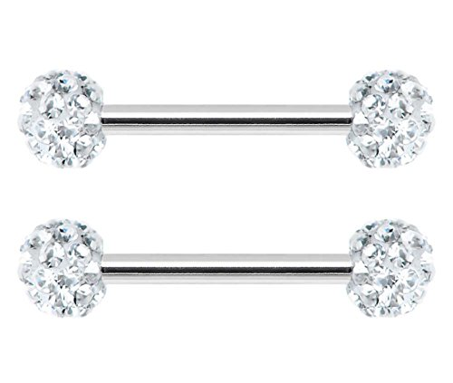 Pair of Clear cz Swarovski Crystal Ferido gem paved Surgical Steel Nipple barbell Ring piercing bar rings 12g