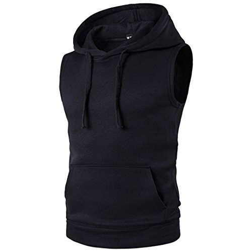 Cut Hoody - Mens Workout Hooded Tank Tops Sleeveless Gym Hoodies With Kanga Pocket Cool and Muscle Cut (XL, Black)