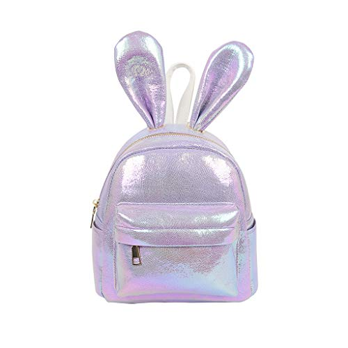 (Londony ✡ Girls Rabbit Ear Cute Mini Leather Backpack, Small Backpack Purse for Women Fashion Shoulder Bag Daypack Purple)