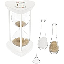 Cathy's Concepts 3967W-7-G Personalized Floral Unity Sand Ceremony Hourglass Set, one Size, White