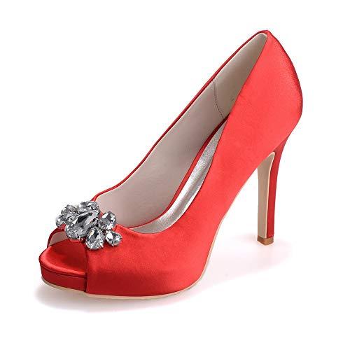 Peep rosso da tacco Ladies sposa Sandali Scarpe Zxstz con classico Toe 5wRxUqxv
