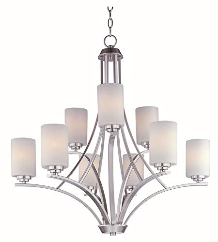 (Maxim 20036SWSN Deven 9-Light Chandelier, Satin Nickel Finish, Satin White Glass, MB Incandescent Incandescent Bulb , 8W Max., Wet Safety Rating, 3000K Color Temp, Standard Triac/Lutron or Leviton Dimmable, Shade Material, 560 Rated Lumens)