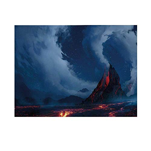 Volcano Photography Background,Vivid Erupting Scenery of Active Volcano Hot Lava Magma Geology Theme Nighttime Decorative Backdrop for Studio,5x3ft (Pillows Lava Outdoor)