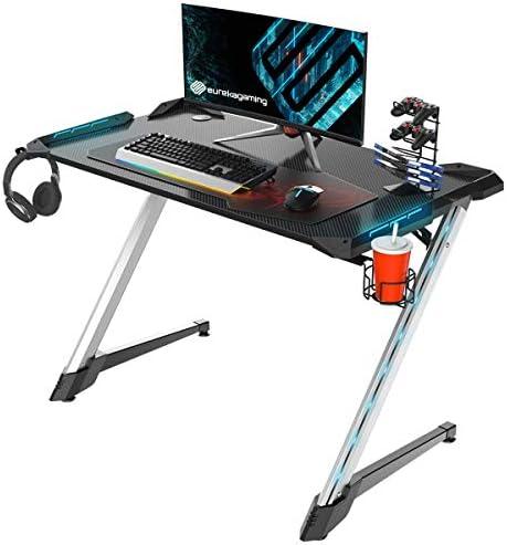 EUREKA ERGONOMIC Z1S PRO Gaming Computer Desk RGB LED Lights 44.5 inch Z Shaped Home Office PC Gaming Desks Table