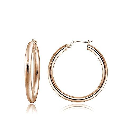 Hoops & Loops Flash Plated Rose Gold Sterling Silver 3mm High Polished Round Hoop Earrings, (3mm Hammered Hoop Earrings)