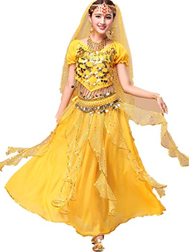 Belly Dance Custome V Neck Coins Top & Chiffon Long Two Layers Skirt yellow