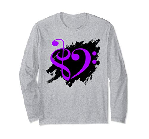 Treble Clef Bass Clef Purple Heart Grunge Brush Strokes Bassist Long Sleeve T-Shirt