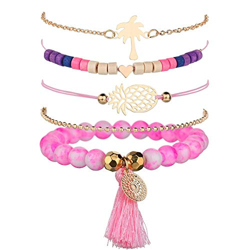 - VONRU Beaded Bracelets for Women - Adjustable Charm Pendent Stack Bracelets for Women Girl Friendship Gift Rose Quartz Bracelet Links with Pearl Golds Plated 5pcs/Set (Pineapple & Coconut Tree)
