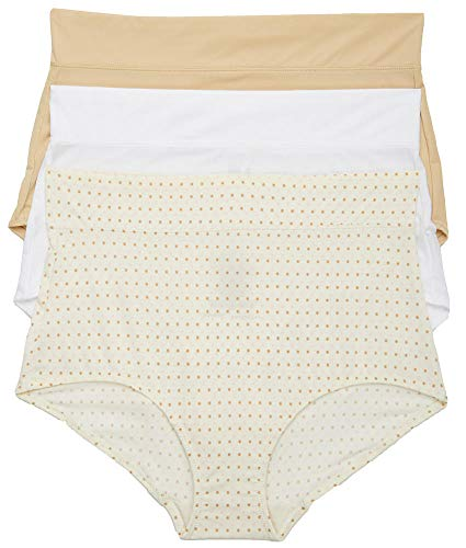 Warner's Women's No Pinching No Problems with Lace Hipster 3 Pack Panties, Sand/White/Body Tone dot Print, 08 ()