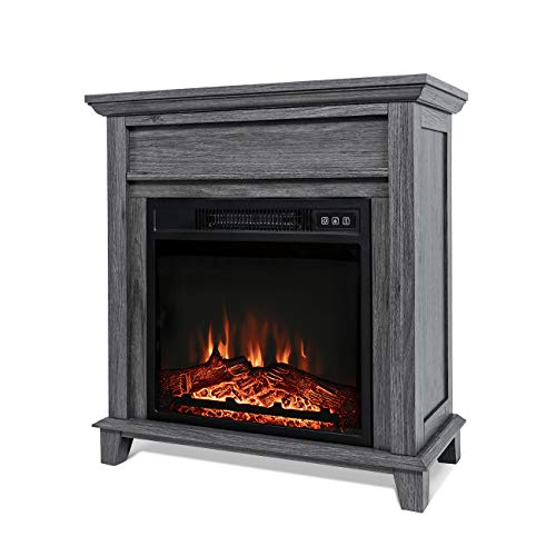 nitipezzo Sleek Modern Design New X-Large Deluxe Mantel Portable Quartz Electric Fireplace Heater, Gray nitipezzo