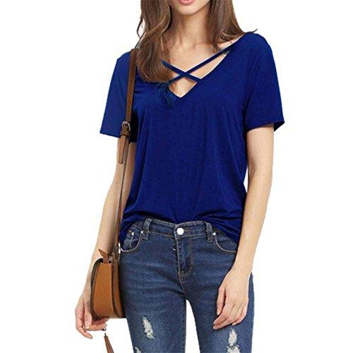 La Sra color sólido del verano V-cuello suelta de nuevo la correa cruzada informal camiseta Slim treasures blue