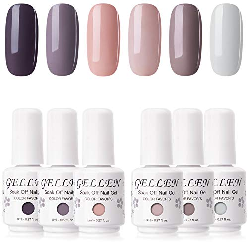 Gellen Gel Nail Polish Kit - 6 Colors Earthy Brown Shade Elegance Grays Nude Browns Tone, Popular Daily Nail Gel Shades Nail Art DIY Long Lasting Home Gel Manicure Set