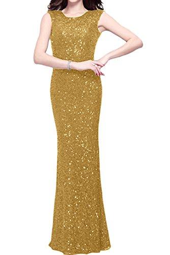 Traeger Abendkleid Rundkragen Partykleid Festkleid Elegant Paillette bodenlang Rueckenfrei Ballkleid Gold Ivydressing zwei Etui FBwX6Oq