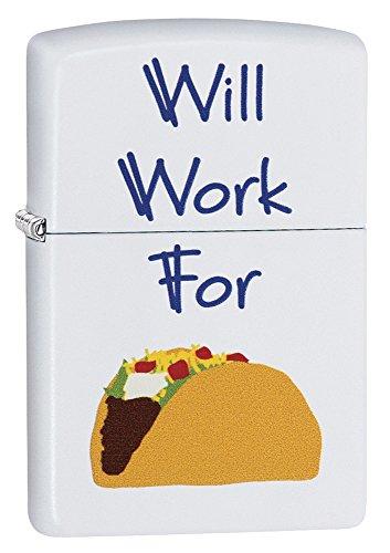 Zippo 29715 Will Work for Tacos White Matte Lighter
