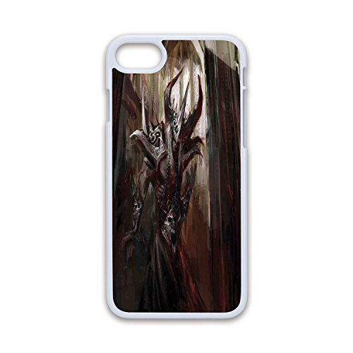 - Phone Case Compatible with iPhone7 iPhone8 White Soft Edges 2D Print,Fantasy World,Armored Evil Monster in Cathedral Apocalyptic Imaginary Knight Character Print,Red Grey,Hard Plastic Phone Case