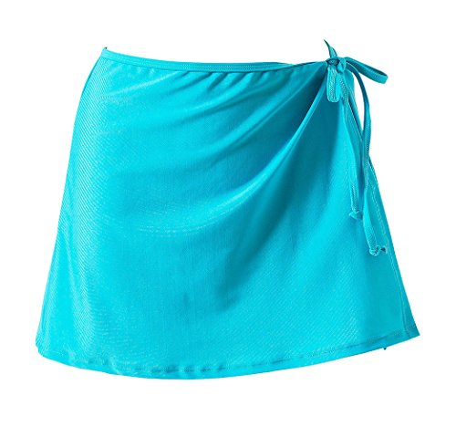 Freestyle t Femmes Swimsuits Jeune Fashion Mini Jupes de Plage Casual Couleur Unie Paro Cache-Maillots et Sarongs Cover Up Lac Bleu