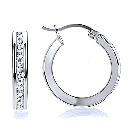 14K White Gold 2mm Intriguing Princess CZ Stone Channel Set Eternity Round Hoop Earrings, Size 12mm~40mm, 12
