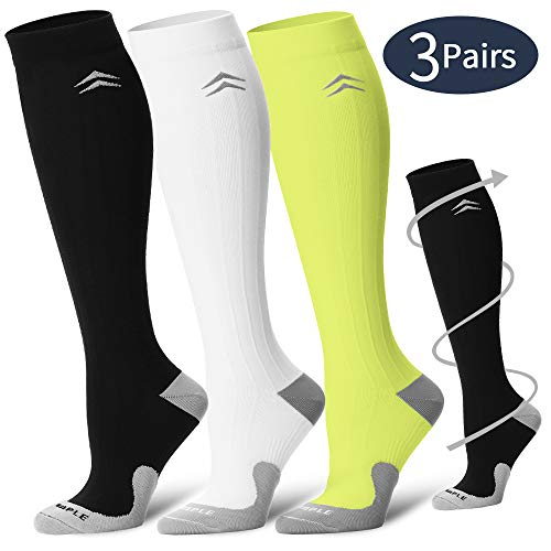 COOLOVER Compression Socks,(3pair) Compression Sock Women & Men - Best Running, Athletic Sports, Crossfit, Flight Travel - Maternity Pregnancy, Shin Splints - Below Knee High