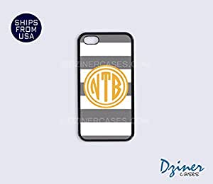 Monogrammed iPhone 5c Case - Grey White Stripes Orange Circle iPhone Cover