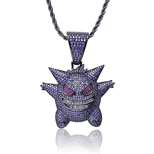 LC8 Jewelry Men Hip Hop Iced Out Bling CZ Diamond Gengar Vampire Bull Pendant 18K Gold and Silver Plated with 24