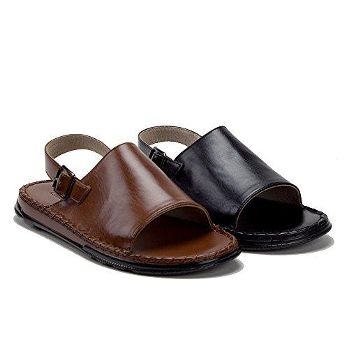 Hombres 82623 Lona Con Forro De Cuero Back Open Toe Slides Sandalias Negro