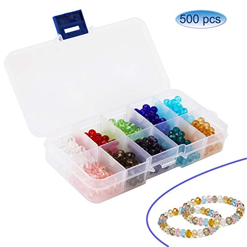 (500pcs) OOTSR 6mm Crystal Glass Beads, 10 Colors Briolette Faceted Beads for Bracelet Necklace Jewelry Making DIY Craft with Container Box