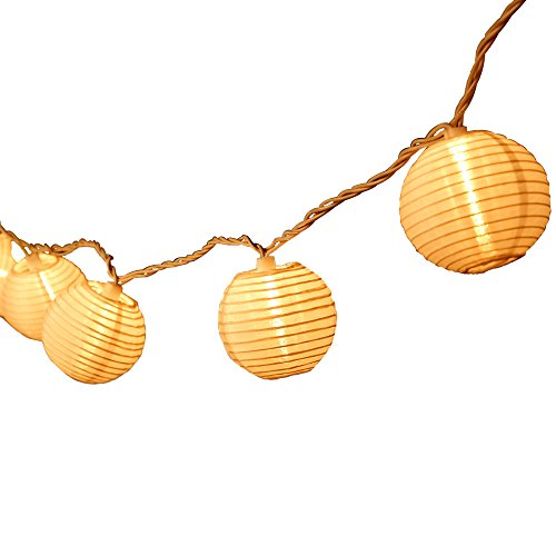 Oriental Lantern String Light Penderie 10 Indoor/Outdoor White Nylon Lantern Chinese Globe Fairy lights for Christmas Party Holiday and Wedding Connectable Plug-in String with warm light - Lantern Plug In