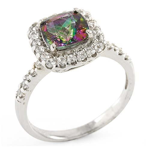 Glamouresq Sterling Silver 7mm Cushion Cut Genuine Mystic Topaz, Diamond &Created White Sapphire Women's Ring,Size - Topaz Ring Mystic Diamond