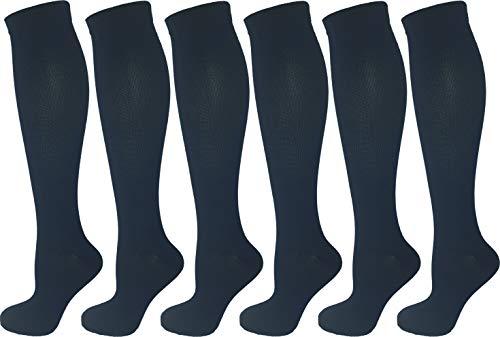(6 Pair Pack Ladies Compression Socks (Small/Medium, All Navy Blue))