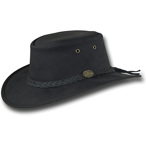 Barmah Hats Foldaway Bronco Leather Hat 1060BL / 1060BR / 1060RU (Large, Black)