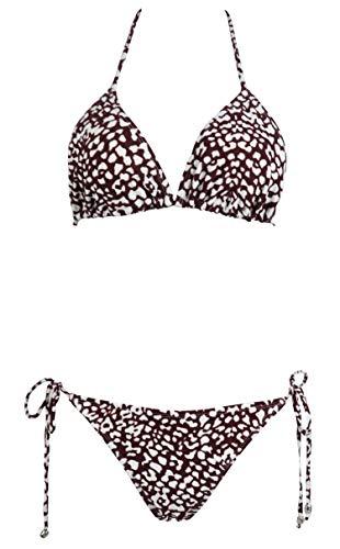 Jonathan Swim Brazilian Bikini Push Up Padded Top Strappy Bottom Triangle Swimsuit(Leopard Brown,xs) (Top Triangle Leopard)