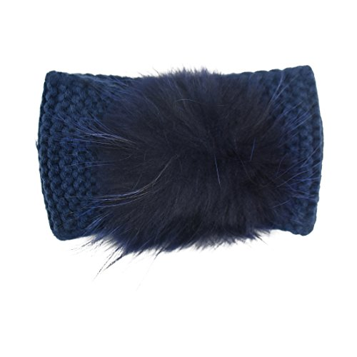 Navy Girls Ear Warmers With Matching Pompom