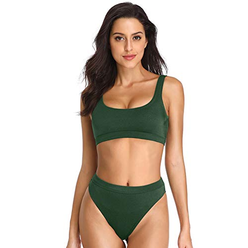 - Dixperfect Two Pieces Bikini Sets Swimsuit Low Scoop Top High Waisted Cheeky Bottom (S, Army Green)