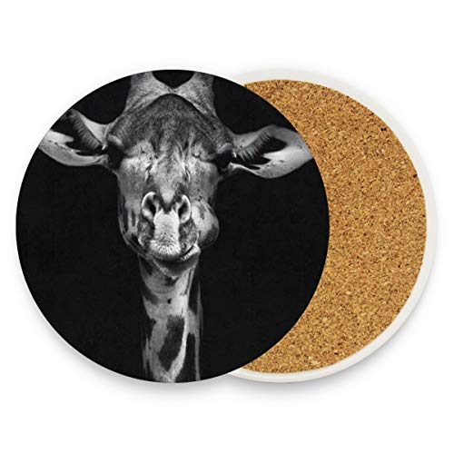 Bordeaux Futon Set - Giraffe Black White Coasters, Protection For Granite, Glass, Soapstone, Sandstone, Marble, Stone Table - Perfect Drink Coasters,Round Cup Mat Pad For Home, Kitchen Or Bar Set Of 2