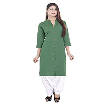 f45f62a9337d Vaidiki Designer Mehndi Green Coloure Front Slit Plain Cotton Kurta With  White Patiala Readymade Suit For Women's: Amazon.in: Clothing & Accessories