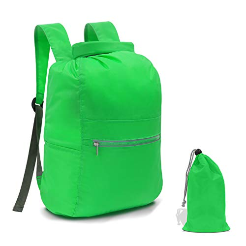 N NEWKOIN Waterproof Dry Bag Roll Top Sack, Ultra Lightweight Backpack with Exterior Zip Pocket for Swimsuit, Towel, Portable Storage Dry Bags for Rafting,Swimming,Beach,Kayaking (Green, 20L)