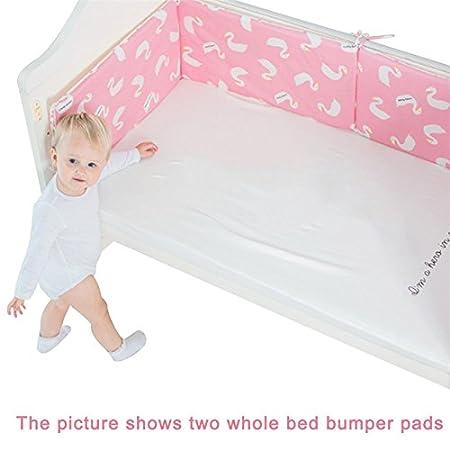 Linda N. Taylor Baby Crib Bumper,Toddler Breathable Cotton Safe Protection Pad Crib Bumper Protector Nursery Bedding Newborn Gift, 120×30cm