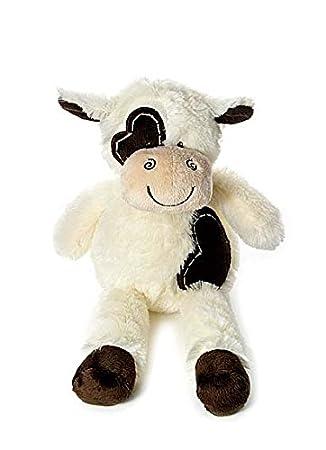 Vaca de peluche muy suave color crema y marrón de 30 cm