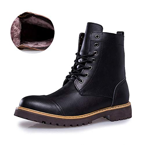 Tebapi Mens Backpacking Boots Autumn Winter Genuine Leather Men Boots Lace-up Men Shoes Warm Snow Boots Motorcycle Boots Size 38-46 Plush Black 10.5
