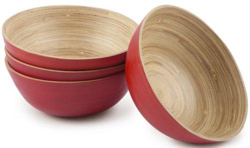 Core Bamboo 2923 Modern Small Round Bowls, Cherry, Set of ()