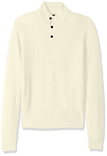 (Perry Ellis Men's Solid Textured Mock Neck Sweater, Cream Extra Extra Large)